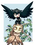 2girls bird black_feathers black_hair brown_feathers brown_hair brown_shirt commission crossed_arms crow eagle frown highres looking_ahead looking_at_another multiple_girls original personification photo-referenced red_eyes setz shirt short_shorts shorts size_difference smile t-shirt tree yellow_eyes