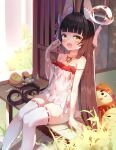 1girl :d absurdres animal_ear_fluff animal_ears azur_lane bangs bare_shoulders bikini bikini_under_clothes black_hair blunt_bangs chinese_commentary commentary_request eyebrows_visible_through_hair feet_out_of_frame food fox_ears fox_mask highres holding holding_food jewelry long_hair looking_at_viewer mask mask_on_head nagato_(azur_lane) nagato_(great_fox's_sleepwear)_(azur_lane) necklace official_alternate_costume open_mouth qiuyueruona red_bikini ribbon-trimmed_legwear ribbon_trim see-through side-tie_bikini sitting smile solo strap_slip swimsuit thigh-highs very_long_hair white_legwear yellow_eyes