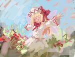 1girl blonde_hair bow dress fairy fairy_wings field flower flower_field hat hat_bow highres light_blush lily_white long_sleeves medium_hair outstretched_arms red_bow reddizen smile touhou white_dress white_headwear wide_sleeves wings