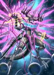 absurdres claw_pose claws complete_form dragon dragon_horns dragon_tail dragon_wings earth_(planet) extra_horns flying highres horns kamen_rider kamen_rider_dcd kamen_rider_decade monster monsterification pink_eyes planet scales sennsu sharp_teeth tail teeth tokusatsu wings