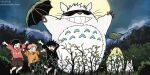 1girl 2boys :d arms_up bangs black_blindfold black_hair black_shorts blindfold child cosplay covered_eyes crossover ddub1618 full_body full_moon fushiguro_megumi gojou_satoru gojou_satoru_(cosplay) grin holding holding_umbrella itadori_yuuji jujutsu_kaisen jumping kugisaki_nobara looking_away moon multiple_boys necktie night open_hands open_mouth orange_shirt outdoors paws pink_hair pink_shirt plant shirt shorts smile solid_circle_eyes spiky_hair swept_bangs teeth tonari_no_totoro totoro umbrella upper_teeth whiskers white_fur yellow_neckwear younger