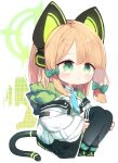1girl :o animal_ears bangs black_footwear black_legwear blue_archive blue_neckwear boots bow brown_hair cat_ear_headphones cat_ears chibi collared_shirt commentary_request eyebrows_visible_through_hair fake_animal_ears full_body green_bow green_eyes hair_bow halo headphones highres hood hood_down hooded_jacket jacket knees_up kotatu_(akaki01aoki00) midori_(blue_archive) necktie open_clothes open_jacket parted_lips shirt sitting solo tail thigh-highs thighhighs_under_boots white_background white_jacket white_shirt