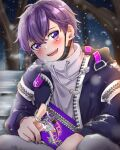 1boy bench hatoka_ra5 highres male_focus open_clothes open_mouth purple_hair shima_(niconico) shirt simple_background smile snow solo urashimasakatasen utaite_(singer) violet_eyes