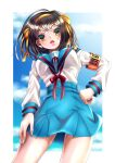 1girl absurdres arm_at_side armband bangs belt bickle_(bickle1983) blue_belt blue_sailor_collar blue_sky border breasts brown_eyes brown_hair clouds commentary day fingernails from_below hair_ribbon hairband hand_on_hip highres kita_high_school_uniform long_sleeves looking_at_viewer medium_breasts medium_hair open_mouth orange_hairband orange_ribbon outside_border paperclip red_armband red_ribbon ribbon sailor_collar school_uniform serafuku shirt shirt_tucked_in sky solo standing suzumiya_haruhi suzumiya_haruhi_no_yuuutsu upper_teeth white_border white_shirt