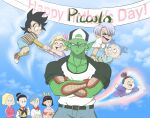 :d backwards_hat baseball_cap blonde_hair bow casual character_request colored_skin crossed_arms day dragon_ball green_skin hat highres male_focus mother's_day open_mouth outdoors piccolo pink_bow pointy_ears simplymacy smile