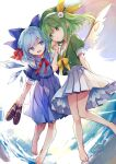2girls abstract_background alternate_costume alternate_hairstyle arm_behind_back bangs barefoot blue_bow blue_dress blue_eyes blue_hair bow bowtie braid buttons cirno closed_mouth commentary daisy daiyousei dress eyebrows_visible_through_hair flower green_eyes green_hair green_headwear green_serafuku hair_bow hair_flower hair_ornament hair_ribbon hand_up hat hat_ribbon highres holding holding_shoes ice ice_wings loafers multiple_girls one_side_up open_mouth petticoat pleated_skirt puffy_short_sleeves puffy_sleeves red_ribbon ribbon risui_(suzu_rks) sailor_collar school_uniform serafuku shoes shoes_removed short_hair short_sleeves sidelocks skirt smile symbol_commentary touhou white_flower white_skirt wing_collar wings yellow_bow yellow_ribbon