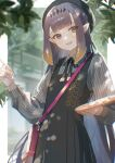 1girl :d absurdres bag bangs beret black_dress black_ribbon blunt_bangs blurry blurry_background chromatic_aberration dress fang handbag hat headpiece highres hololive huge_filesize long_hair long_sleeves looking_at_viewer mole mole_under_eye neck_ribbon ninomae_ina'nis open_mouth outdoors oyuyu paintbrush palette pinafore_dress pointy_ears purple_hair ribbon shoulder_bag smile solo tentacle_hair violet_eyes virtual_youtuber