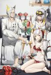 1boy 2girls absurdres ahoge alternate_costume amiya_(arknights) animal_ears antennae arknights bikini bird_ears black_choker cameo cat_ears chinese_commentary choker coat collarbone demon_horns demon_tail doctor_(arknights) dpea9 dumbbell eyewear_on_head facial_hair glasses goatee grey_hair hellagur_(arknights) highres holding horns id_card kettle lanyard long_hair looking_at_viewer multiple_girls mustache open_clothes open_coat open_mouth pants plant ponytail potted_plant red_bikini red_nails rhodes_island_logo sandals schwarz_(arknights) see-through shelf shirt short_hair shorts sitting skadi_(arknights) sunglasses sweater swimsuit tail tied_hair visor_cap w_(arknights) wariza when_you_see_it white_coat white_footwear white_pants white_shirt white_sweater yellow_eyes yellow_shorts