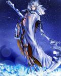 1girl bandi flower girls_frontline moon nyto_alina_(girls_frontline) paradeus scythe star white_hair