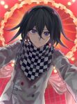 1boy bangs black_hair checkered checkered_floor checkered_scarf commentary_request danganronpa_(series) danganronpa_v3:_killing_harmony from_below grey_jacket hair_between_eyes highres jacket kozomezuki long_sleeves looking_at_viewer male_focus ouma_kokichi outstretched_arms purple_hair scarf short_hair smile solo straitjacket upper_body violet_eyes