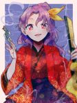 1girl :d blue_background hairband hand_up highres itomugi-kun japanese_clothes kimono komakusa_sannyo long_hair long_sleeves looking_at_viewer multicolored multicolored_clothes open_mouth pipe ponytail purple_hair red_eyes ribbon smile smoke solo touhou yellow_hairband yellow_ribbon