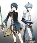 2boys :o absurdres az192837465 bandages bangs black_bodysuit blue_hair bodysuit chongyun_(genshin_impact) earrings eyebrows_visible_through_hair frills genshin_impact gradient gradient_background highres holding holding_sword holding_weapon jewelry light_blue_hair long_sleeves male_focus multiple_boys open_mouth shorts simple_background single_earring sword tassel tassel_earrings vision_(genshin_impact) weapon xingqiu_(genshin_impact) yellow_eyes
