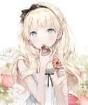 black_ribbon blonde_hair blue_eyes blush collarbone cookie copyright_request dress earrings eating eyebrows_visible_through_hair food food_on_face fruit hairband highres holding holding_food jewelry long_hair naizotan neck_ribbon open_mouth ribbon simple_background strawberry white_background white_dress
