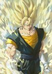 1boy aura blonde_hair clenched_hands closed_mouth commentary_request dragon_ball dragon_ball_z earrings electricity green_eyes highres jewelry looking_at_viewer male_focus muscular muscular_male potara_earrings serious spiky_hair standing stynl_f super_saiyan super_saiyan_2 vegetto