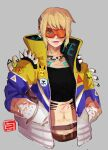 alternate_hairstyle apex_legends black_tubetop blue_eyes cosplay crypto_(apex_legends) crypto_(apex_legends)_(cosplay) goggles grey_background hands_in_pockets highres hype_beast_crypto jacket midriff multicolored multicolored_clothes multicolored_jacket navel one_eye_covered patch purple_lips scar scar_on_cheek scar_on_chest scar_on_face scar_on_stomach shaira_(noxlotl) short_hair spikes strapless tubetop upper_body wattson_(apex_legends)