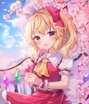 1girl absurdres back_bow blonde_hair blush bow cherry_blossoms crystal day fang flandre_scarlet flower hair_bow hair_flower hair_ornament hanen_(borry) hat highres holding long_hair looking_at_viewer mob_cap outdoors petals red_bow red_eyes red_skirt red_vest shirt short_sleeves side_ponytail skirt smile solo touhou tree vest white_bow white_headwear white_shirt wings wrist_cuffs