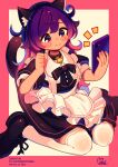 1girl absurdres animal_ear_fluff animal_ears apron bangs black_dress black_footwear black_neckwear blush border cat_ears cat_tail commission copyright_request dress frilled_apron frills gradient_hair highres holding holding_phone huge_filesize jewelry long_hair moai_(more_e_4km) multicolored_hair over-kneehighs phone pink_border pink_hair purple_hair ring shoes skeb_commission solo tail thigh-highs white_apron white_background white_legwear