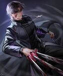 1boy absurdres bangs between_fingers black_coat black_keys_(type-moon) blood blood_on_face brown_eyes brown_hair coat cross cross_necklace evil_smile eyebrows_visible_through_hair eyes_visible_through_hair fate/stay_night fate_(series) forked_eyebrows highres jewelry kotomine_kirei latin_cross leg_up long_sleeves male_focus medium_hair necklace parted_bangs rijjin smile solo sword weapon