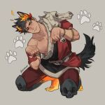 1boy animal_ears armlet artist_name barefoot black_hair black_sclera closed_mouth colored_sclera commentary dog_boy dog_ears dog_tail english_commentary etceteraart extra_ears full_body greek_clothes green_eyes grey_background hades_(game) head_tilt heterochromia highres kemonomimi_mode laurel_crown leggings looking_to_the_side male_focus mismatched_sclera nipples paw_pose paw_print red_eyes red_legwear short_hair simple_background skull solo squatting tail zagreus_(hades)