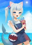 1girl animal_ear_fluff animal_ears bag bangs beach blue_eyes blue_hair blue_nails blue_skirt blue_vest blunt_bangs blush buttons cat_ears cowboy_shot fish_tail food food_on_face gawr_gura gotoh510 hair_cubes hair_ornament highres holding hololive ice_cream ice_cream_cone long_hair looking_at_viewer multicolored_hair ocean official_alternate_costume open_mouth outdoors shark_tail sharp_teeth shirt shoulder_bag side_ponytail sidelocks skirt skirt_set sky solo streaked_hair tail teeth vest virtual_youtuber white_hair white_shirt