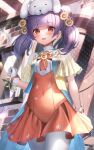 1girl animal_hat bangs blunt_bangs blush cape commentary commission eyebrows_visible_through_hair fire_emblem fire_emblem_heroes flower gloves hair_flower hair_ornament hat high-waist_skirt highres looking_at_viewer myrrh_(fire_emblem) open_mouth orange_skirt pantyhose purple_hair red_eyes shirt skeb_commission skirt solo suraimu_(suraimuraimu) twintails two-sided_cape two-sided_fabric white_gloves white_legwear white_shirt yellow_flower