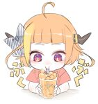 1girl ahoge alternate_costume alternate_hairstyle bangs blonde_hair blunt_bangs bow bright_pupils bubble bubble_blowing child commentary_request cup diagonal-striped_bow dragon_girl dragon_horns drinking_straw drinking_straw_in_mouth facing_viewer highlights holding holding_cup hololive horn_bow horns ice ice_cube isuka juice kiryu_coco looking_at_object multicolored multicolored_eyes multicolored_hair onomatopoeia orange_hair pointy_ears red_eyes short_hair short_sleeves sidelocks simple_background solo streaked_hair striped striped_bow upper_body violet_eyes virtual_youtuber white_background white_pupils younger