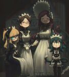 4girls :3 :d ^_^ absurdres animal animal_ears bangs blonde_hair blunt_bangs bonnet braid brown_hair cat cat_ears cat_girl cat_tail closed_eyes commentary crown_braid earrings english_commentary facing_viewer flareze_(porforever) glasses gloves green_hair hair_between_eyes hair_bun highres holding holding_animal holding_cat horns indoors jewelry long_hair looking_at_viewer maid maid_day maid_headdress monocle multiple_girls open_mouth original porforever red-framed_eyewear redhead ribbon semi-rimless_eyewear sitting smile standing tail tail_ornament tail_ribbon two_side_up under-rim_eyewear white_gloves yellow_eyes