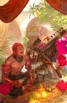 2boys absurdres ashwatthama_(fate) bodysuit closed_eyes collar commentary_request crossed_legs dark_skin earrings egawa_akira fate/apocrypha fate/grand_order fate_(series) flower food fruit gauntlets grin hair_between_eyes highres indian_style instrument jewelry karna_(fate) laughing male_focus multiple_boys music pitcher playing_instrument redhead sitar sitting smile spiked_collar spikes tree white_hair