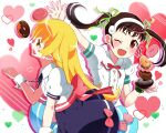 2girls :d ;d absurdres arm_up back_bow bangs blonde_hair blue_skirt blush bow bracelet brown_hair buttons collared_shirt commentary_request doughnut dress_shirt drop_shadow fang floating_hair food green_ribbon hachikuji_mayoi hair_ribbon hairband happy heart highres holding holding_saucer jewelry long_hair looking_at_food looking_at_viewer mashimaro_tabetai monogatari_(series) multiple_girls neck_ribbon one_eye_closed open_mouth oshino_shinobu pink_bow pink_nails puffy_short_sleeves puffy_sleeves purple_skirt red_eyes red_neckwear red_ribbon ribbon saucer shiny shiny_hair shirt shirt_tucked_in short_sleeves skin_fang skirt smile twintails waitress waving white_background white_hairband white_shirt wrist_cuffs yellow_eyes