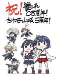 6+girls ahoge anniversary arashio_(kancolle) asashio_(kancolle) bamboo bamboo_shoot bangs black_dress black_hair black_legwear black_serafuku blue_eyes braid brown_eyes brown_hair chibi closed_eyes detached_sleeves double_bun dress fingerless_gloves gloves grey_hair hair_ribbon hat highres japanese_clothes kantai_collection kneehighs light_brown_hair long_hair michishio_(kancolle) multiple_girls nontraditional_miko one_eye_closed ooshio_(kancolle) open_mouth pantyhose parachute pinafore_dress pleated_skirt remodel_(kantai_collection) ribbon ribbon-trimmed_sleeves ribbon_trim rigging sailor_collar sandals school_uniform seiran_(mousouchiku) serafuku shigure_(kancolle) short_hair short_sleeves simple_background single_braid skirt smile standing twintails w white_background yamashiro_(kancolle)