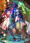 3girls absurdres ass blonde_hair blue_eyes blue_hair breasts clouds dryad green_eyes half-closed_eyes hat high_heels highres large_breasts magic mikazuki_akira! multiple_girls nature original shaded_face single_thighhigh sky staff striped striped_legwear thigh-highs tree water witch witch_hat