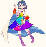 blue_eyes blue_hair boots cape dress full_body hairband highres knee_boots massakasama multicolored multicolored_clothes multicolored_dress multicolored_hairband pointing pointing_down pointing_up purple_footwear rainbow_gradient red_button shoes sky_print smile tenkyuu_chimata touhou two-sided_cape two-sided_fabric white_cape zipper