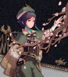 1boy absurdres androgynous arm_behind_back bangs beret black_hair blue_hair blurry blurry_foreground bow braid brooch cape character_name chinese_commentary closed_mouth collared_cape collared_shirt commentary_request corset english_text falling_petals flower frilled_sleeves frills gem genshin_impact gradient_hair green_eyes green_headwear green_shorts hat highres jewelry leaf long_sleeves looking_at_viewer male_focus multicolored_hair petals pink_flower shirt short_hair_with_long_locks shorts signature smile solo tree_branch twin_braids venti_(genshin_impact) vision_(genshin_impact) white_leaf white_shirt