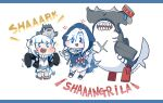 abyssal_ship alternate_costume animal_hood bangs bloop_(gawr_gura) blue_eyes blue_hoodie blunt_bangs blush chibi cosplay costume_switch english_text fish_tail gawr_gura hair_ornament hammerhead_shark hi_ye hololive hololive_english hood hoodie kantai_collection long_sleeves multicolored_hair scar shark_girl shark_hair_ornament shark_hood shark_print shark_tail sharp_teeth silver_hair south_pacific_aircraft_carrier_princess streaked_hair tail teeth twitter_username two_side_up virtual_youtuber wide_sleeves