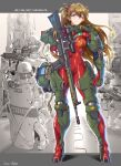 1girl 3boys aiming artist_name blue_eyes bodysuit breasts cable clenched_hand english_text floating_hair foregrip gun handgun helmet highres holding holding_gun holding_weapon jazz_kawa_sodom multiple_boys neon_genesis_evangelion orange_hair pistol plugsuit power_armor red_bodysuit rifle scope small_breasts sniper_rifle solo_focus souryuu_asuka_langley swat two_side_up weapon