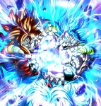 2boys biceps blue_eyes blue_hair commentary dragon_ball dragon_ball_gt dragon_ball_super dragon_ball_super_broly dual_persona energy_beam gogeta highres incoming_attack kamehameha looking_at_viewer male_focus metamoran_vest monkey_boy multiple_boys muscular muscular_male open_mouth red_fur redhead saiyan screaming stynl_f super_saiyan super_saiyan_4 super_saiyan_blue teeth tongue
