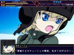 1girl bangs blonde_hair blue_eyes blue_sky bob_cut commentary_request day eyebrows_visible_through_hair fake_screenshot fang frise frown girls_und_panzer green_jumpsuit helmet katyusha_(girls_und_panzer) looking_to_the_side open_mouth outdoors partial_commentary pixel_art pravda_military_uniform short_hair sky solo super_robot_wars tank_helmet