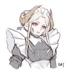 1girl alternate_costume apron black_dress breasts commentary_request da-cart dress edelgard_von_hresvelg enmaided fire_emblem fire_emblem:_three_houses forehead hegemon_edelgard highres horns juliet_sleeves long_sleeves maid maid_apron maid_headdress puffy_sleeves red_eyes sidelocks silver_hair simple_background small_breasts solo spoilers upper_body white_apron white_background