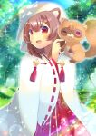1girl :d ;d animal animal_ear_fluff animal_ears animal_on_shoulder bangs blurry blurry_background blush brown_hair day depth_of_field eyebrows_visible_through_hair hair_between_eyes hakama japanese_clothes kimono kouu_hiyoyo long_sleeves miko one_eye_closed open_mouth outdoors raccoon raccoon_ears raph-chan raphtalia red_eyes red_hakama ribbon-trimmed_sleeves ribbon_trim smile sparkle tate_no_yuusha_no_nariagari tree veil white_kimono wide_sleeves