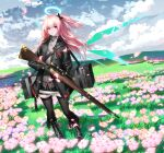 1girl absurdres ambriel_(arknights) arknights bangs black_bow black_footwear black_gloves black_jacket black_legwear blue_sky boots bow clouds day flower full_body gloves grass gun hair_bow halo highres holding holding_gun holding_weapon jacket long_hair long_sleeves looking_at_viewer one_side_up outdoors pantyhose parted_lips petals pink_flower pink_hair rifle sky solo standing thigh-highs violet_eyes wanshuibaipo weapon wings zettai_ryouiki