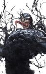 1boy black_eyes eddie_brock highres long_tongue marvel one_eye_covered open_hand open_mouth saliva science_fiction sharp_teeth solo spider-man_(series) symbiote teeth tongue tongue_out venom_(2018) venom_(marvel) white_background white_eyes zonotaida