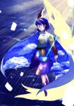 1girl artist_request blue_eyes blue_hair boots cape dress full_body highres long_sleeves multicolored multicolored_clothes multicolored_dress multicolored_hairband open_mouth pink_footwear pointing pointing_down pointing_up rainbow_gradient red_button short_hair sky_print tenkyuu_chimata two-sided_cape two-sided_fabric unconnected_marketeers white_cape