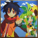 1boy 1girl ash_(phantom_brave) black_hair blue_sky closed_mouth clouds flower green_eyes green_hair holding holding_flower lego lego_(medium) looking_at_viewer marona_(phantom_brave) open_mouth outdoors phantom_brave photo_(medium) pixel_art red_eyes red_scarf scarf short_hair sky smile sunflower unconventional_media upper_body you_rei_(blowback)