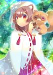 1girl ;d animal animal_ear_fluff animal_ears animal_on_shoulder bangs blurry blurry_background blush brown_hair closed_mouth commentary_request day depth_of_field eyebrows_visible_through_hair hair_between_eyes hakama japanese_clothes kimono kouu_hiyoyo long_sleeves miko one_eye_closed open_mouth outdoors raccoon raccoon_ears raph-chan raphtalia red_eyes red_hakama ribbon-trimmed_sleeves ribbon_trim smile sparkle tate_no_yuusha_no_nariagari tree veil white_kimono wide_sleeves
