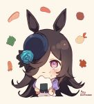 1girl absurdres animal_ears bangs black_hair black_headwear blue_flower blue_rose blush brown_background chibi closed_mouth commentary cropped_torso eating flower food food_on_face hair_over_one_eye hat hat_flower highres holding holding_food horse_ears long_hair onigiri puffy_short_sleeves puffy_sleeves rice rice_on_face rice_shower_(umamusume) rose school_uniform shirt short_sleeves signature simple_background sofra solo symbol_commentary tilted_headwear tracen_school_uniform twitter_username umamusume upper_body violet_eyes wavy_mouth white_shirt