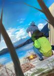 1girl blue_hair blue_pants camping coat cooking fire firewood frying_pan hair_bun highres hooded_coat mikazuki_akira! mountain nature pants river shima_rin smile solo squatting tent water yurucamp