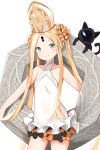 1girl abigail_williams_(fate) absurdres animal bangs bare_arms bare_shoulders black_bow black_cat blonde_hair blue_eyes blush bow braid casual_one-piece_swimsuit cat closed_mouth collarbone commentary_request cowboy_shot fate/grand_order fate_(series) hat highres keyhole one-piece_swimsuit orange_bow parted_bangs polka_dot polka_dot_bow simple_background smile solo standing swimsuit twintails white_background white_headwear white_swimsuit yukaa