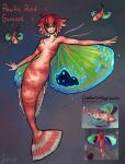 1girl absurdres blue_eyes breasts colored_sclera creature_and_personification english_commentary fins fish full_body grin highres matilda_fiship mermaid monster_girl nude original pacific_red_gurnard personification photo-referenced redhead scales short_hair smile solo wings yellow_sclera