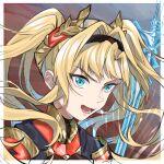 1girl armor bangs blonde_hair blue_eyes granblue_fantasy hair_intakes hair_ornament hairband highres long_hair looking_at_viewer solo twintails weapon zeta_(granblue_fantasy)