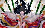 1girl alternate_costume bamboo bangs black_eyes black_hair blunt_bangs eyeshadow floral_print highres hime_cut houraisan_kaguya japanese_clothes long_hair long_sleeves looking_to_the_side makeup open_mouth red_eyeshadow sakishima_(sakisima_00) solo touhou very_long_hair wide_sleeves